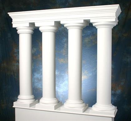 Column 39 s cap and base for pre manufactured archway system for 10 fiberglass columns